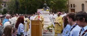 Moment de rugăciune la statuia Fericitului Ioan Paul al II-lea